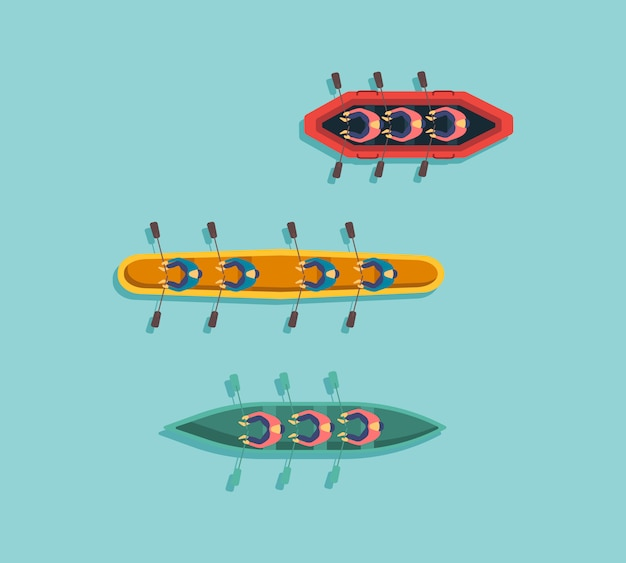 Conjunto de barcos, kayaks con gente dentro. vista superior de barcos de pescadores en el agua. río o mar, lago o estanque con motor o velero de madera. ilustración,.