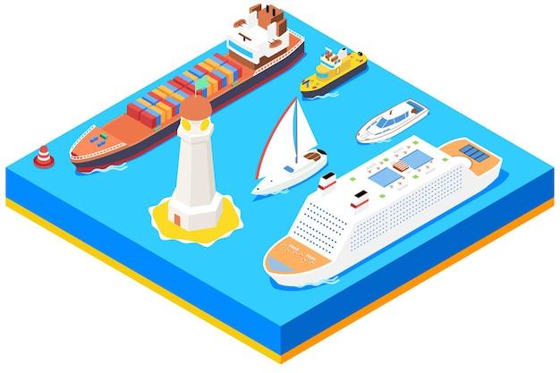 Conjunto de barcos de mar isométrica. faro y boya, barco oceánico, transporte y transporte.