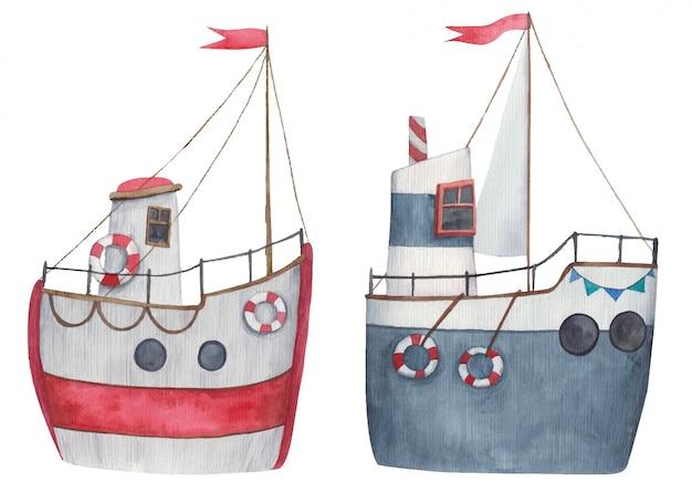 Conjunto de barcos, veleros en colores rojo y azul con velas y bandera roja desde arriba, ilustración acuarela para niños sobre fondo blanco.