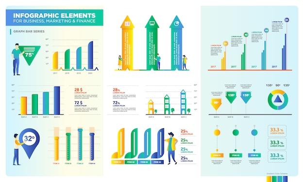 Conjunto de barra gráfica para recursos digitales, presentación de datos para negocios o marketing.
