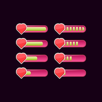 Conjunto de barra de progreso de salud de interfaz de usuario de juego rosa casual