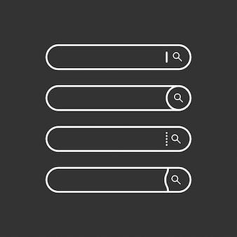 Conjunto de barras de búsqueda. elementos de diseño web planos. plantillas para sitio web