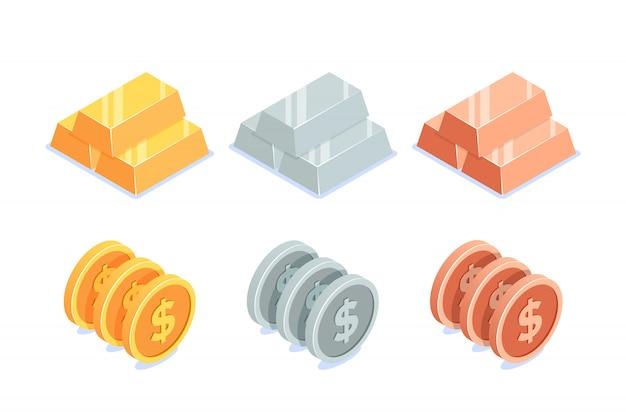 Conjunto de barras y monedas.