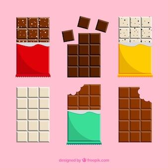 Conjunto de barras y trozos con chocolates diferentes