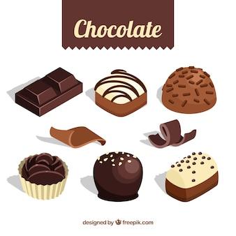 Conjunto de barras y trozos de delicioso chocolate