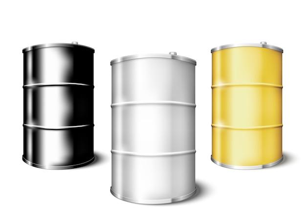 Conjunto de barriles en blanco de metal