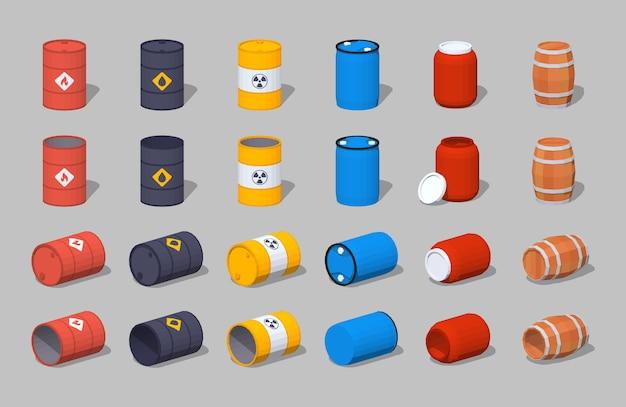 Conjunto de los barriles isométricos lowpoly 3d de metal, plástico y madera.