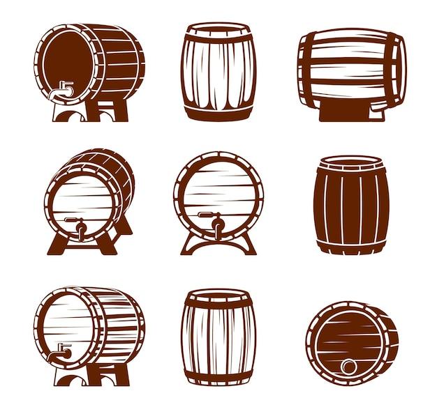 Conjunto de barriles de madera retro