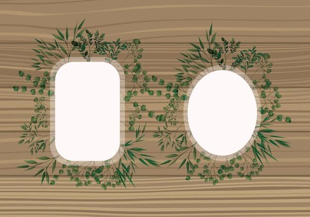 Conjunto de bastidor con hojas de laurel de fondo de madera.