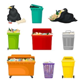 Conjunto de basura en tanques y paquetes.