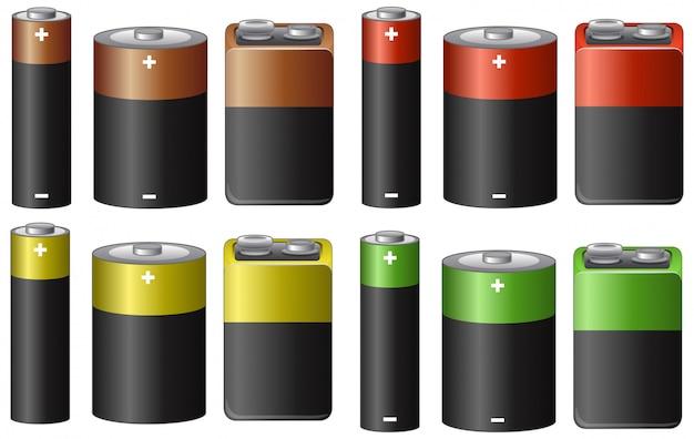 Conjunto de baterías en muchos tamaños y colores.