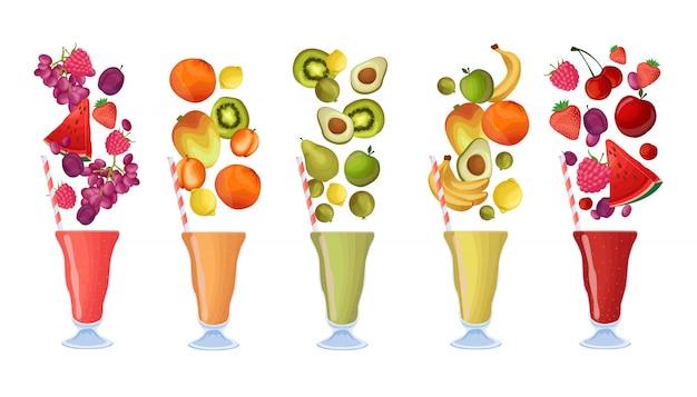 Conjunto de batidos de frutas frescas. refrescos saludables de vitaminas
