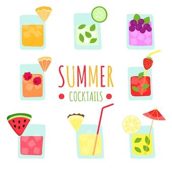 Conjunto de batidos de frutas tropicales frescas de verano