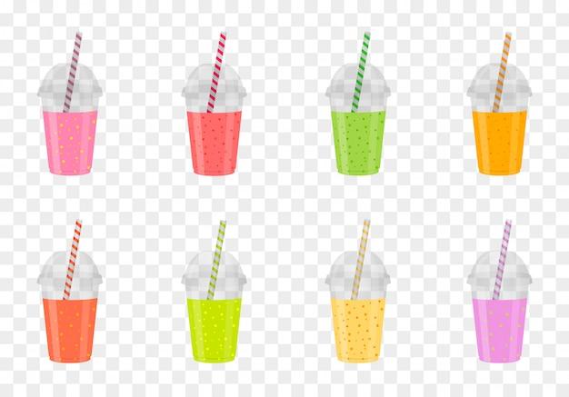 Conjunto de batidos de frutas en vasos de plástico. jugo fresco saludable. bebidas de menú.