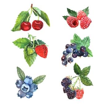 Conjunto de bayas de acuarela con fresa frambuesa y cereza.