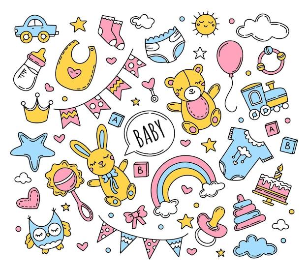 Conjunto de bebé recién nacido de iconos de estilo doodle