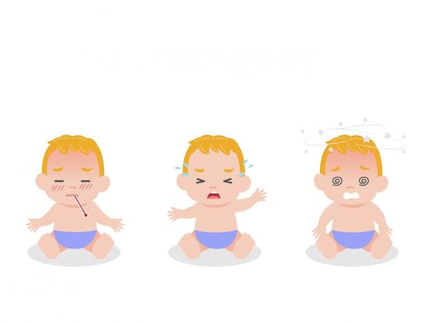 Conjunto de bebés los niños tienen fiebre