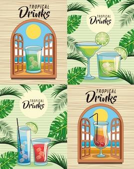 Conjunto de bebida de cóctel tropical