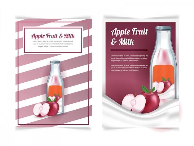 Conjunto de bebida de leche de manzana en una botella