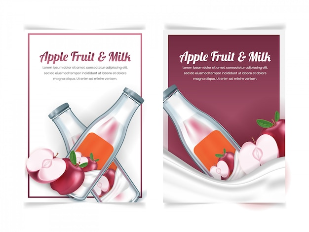 Conjunto de bebida de leche de manzana en una plantilla de diseño de folleto de botella
