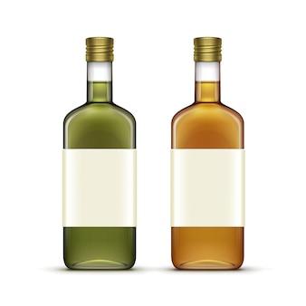Conjunto de bebidas alcohólicas bebidas botellas de vidrio de aceite de whisky