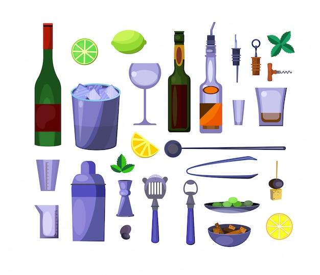 Conjunto de bebidas alcohólicas.
