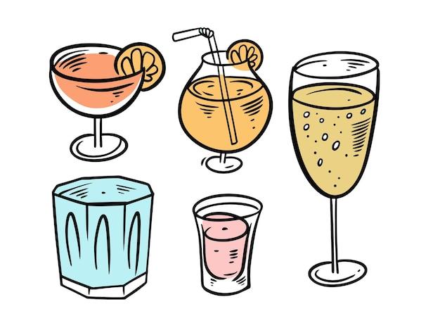 Conjunto de bebidas cócteles coloridos aislado en blanco