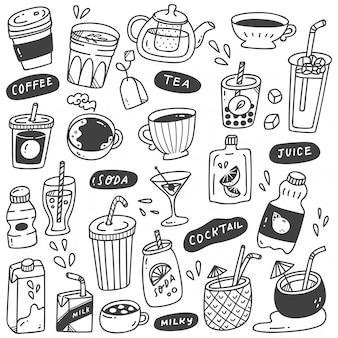 Conjunto de bebidas dibujadas a mano doodle