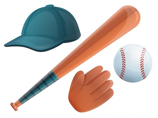 Conjunto de béisbol. conjunto de dibujos animados de béisbol