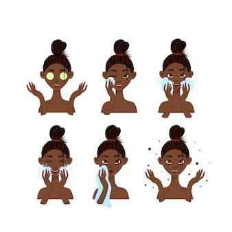 Conjunto de belleza de cuidado de la piel niñas africanas. estilo de dibujos animados ilustración vectorial