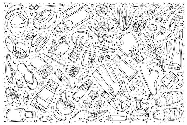 Conjunto de belleza dibujado a mano doodle fondo