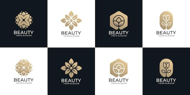 Conjunto de belleza de lujo flor logo spa decoración yoga wellness