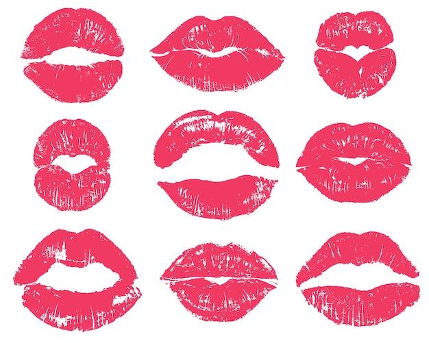 Conjunto de beso de lápiz labial aislado en blanco