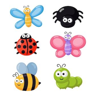 Conjunto de bichos graciosos. insectos de dibujos animados aislados sobre fondo blanco.