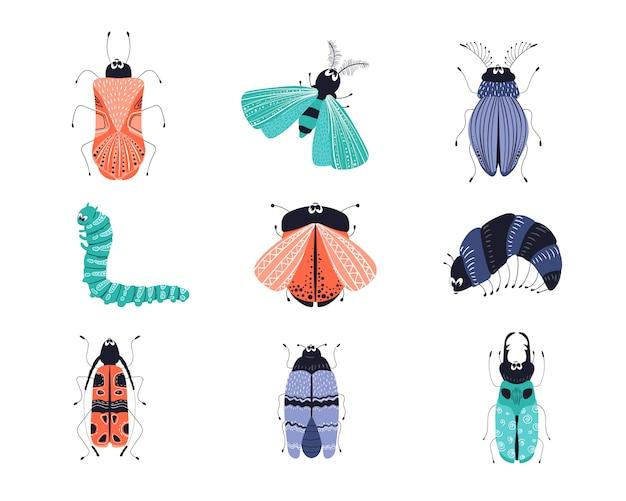Conjunto de bichos o escarabajos de dibujos animados
