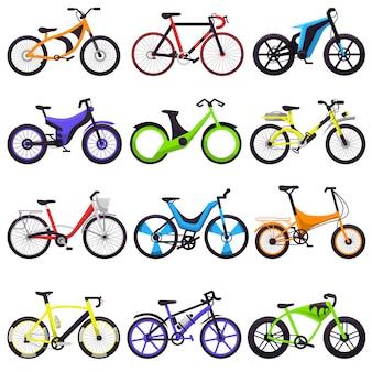 Conjunto de bicicletas ciclistas