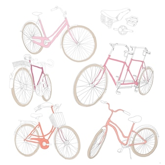 Conjunto de bicicletas coloridas dibujadas a mano