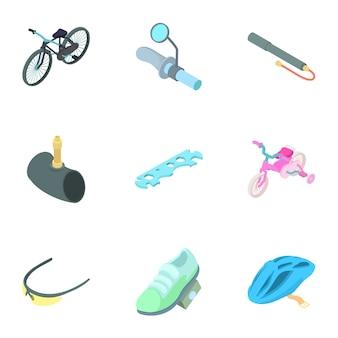 Conjunto de bicicletas, estilo de dibujos animados