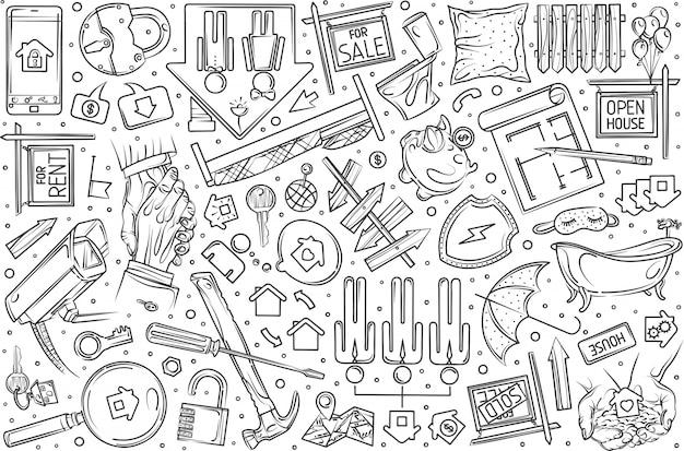 Conjunto de bienes raíces dibujados a mano doodle fondo