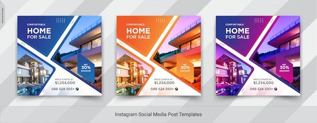 Conjunto de bienes raíces o venta de casas instagram social media post design