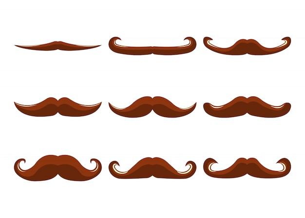 Conjunto de bigote. estilo plano. ilustracion vectorial