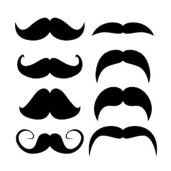 Conjunto de bigotes silueta negra de bigotes hombre adulto. ilustración aislada sobre fondo blanco.