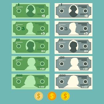 Conjunto de billetes de dólar moneda, ilustración en estilo plano