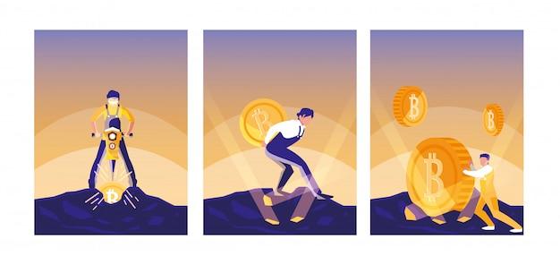 Conjunto de bitcoins crypto mining de trabajadores en equipo