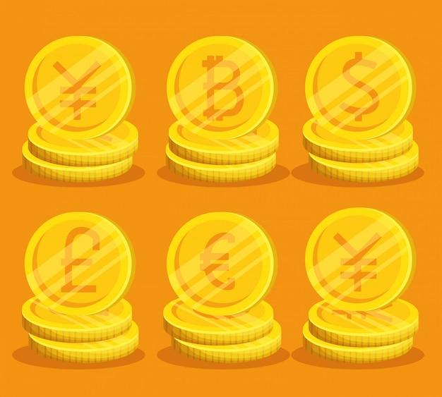 Conjunto de bitcoins dorados