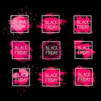 Conjunto de black friday iconos vacaciones logotipos de venta