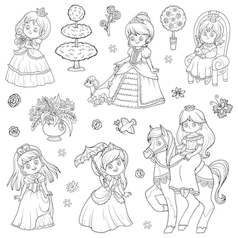 Conjunto blanco y negro de princesa, colección de dibujos animados vectoriales de personajes infantiles