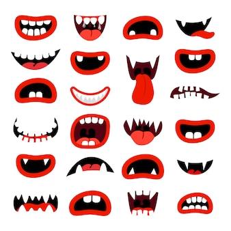 Conjunto de boca de monstruos lindo bocas de dibujos animados rojo con dientes en blanco