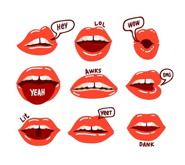 Conjunto de boca de mujer. labios rojos sexy expresando diferentes emociones. ilustración plana de dibujos animados
