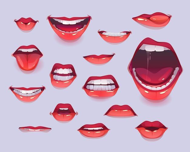 Conjunto de boca de mujer. labios sexy rojos expresando emociones